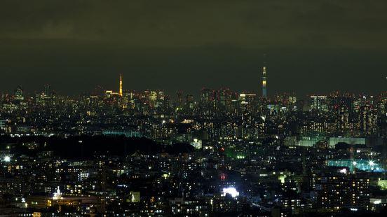 高速バスから撮影した東京タワーとスカイツリー